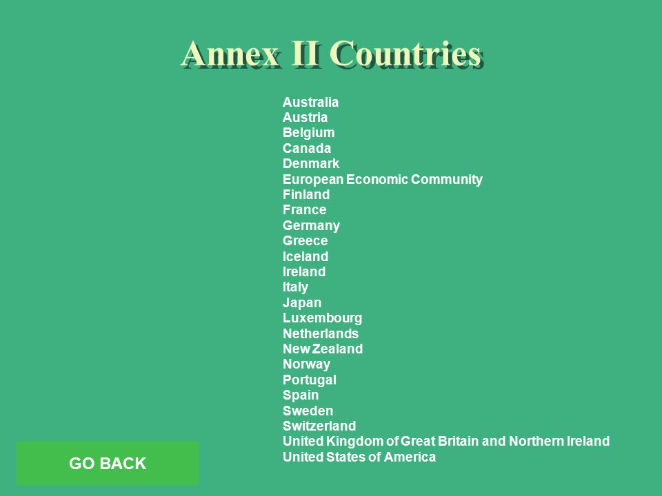 Annex II Countries Australia Austria Belgium Canada Denmark European Economic Community Finland France Germany Greece Iceland Ireland Italy Japan Luxembourg Netherlands New Zealand Norway Portugal Spain Sweden Switzerland United Kingdom of Great Britain and Northern Ireland United States of America GO BACK
