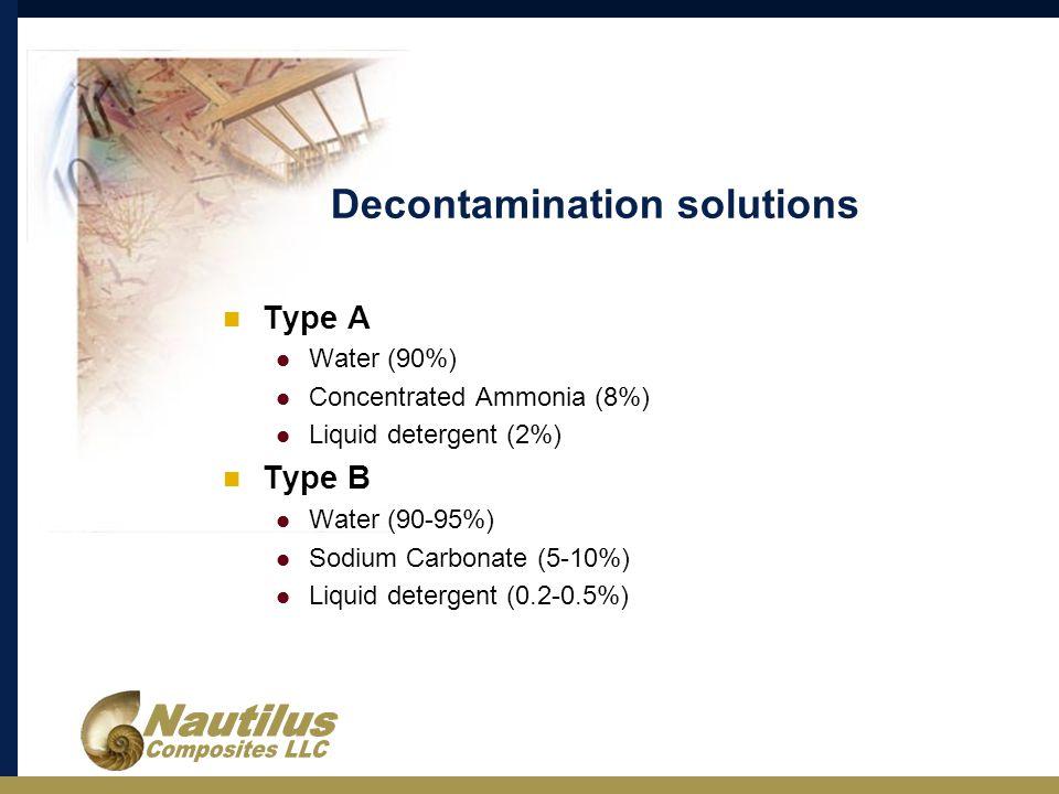 Decontamination solutions Type A Water (90%) Concentrated Ammonia (8%) Liquid detergent (2%) Type B Water (90-95%) Sodium Carbonate (5-10%) Liquid detergent (0.2-0.5%)