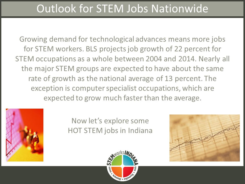 Outlook for STEM Jobs Nationwide Growing demand for technological advances means more jobs for STEM workers.