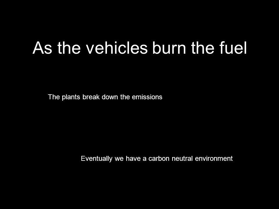 As the vehicles burn the fuel The plants break down the emissions Eventually we have a carbon neutral environment