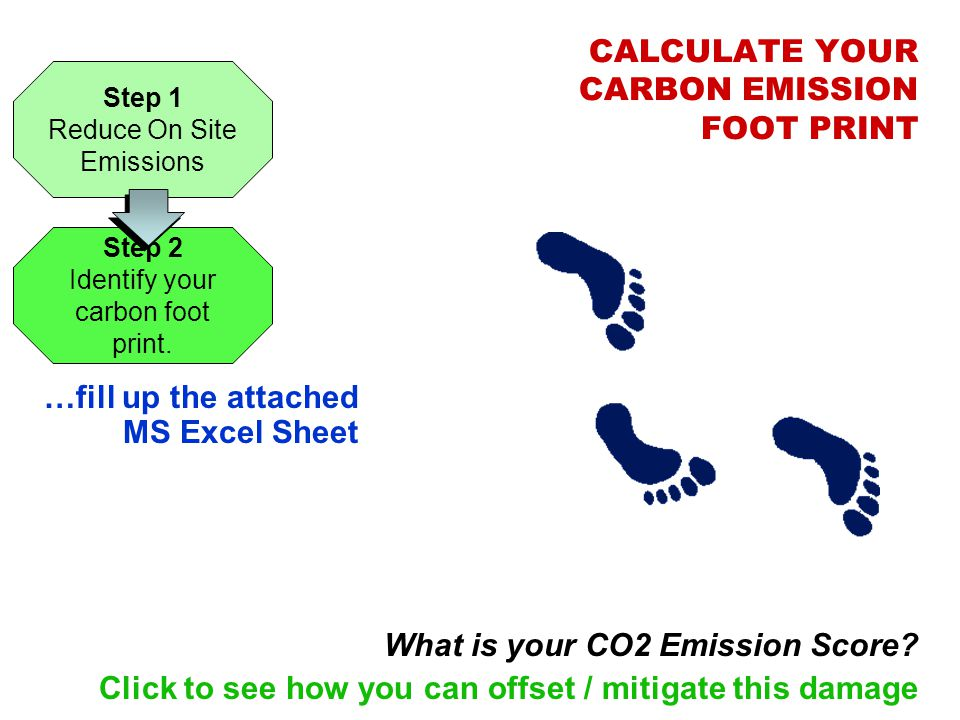 CALCULATE YOUR CARBON EMISSION FOOT PRINT …fill up the attached MS Excel Sheet What is your CO2 Emission Score? Click to see how you can offset / miti