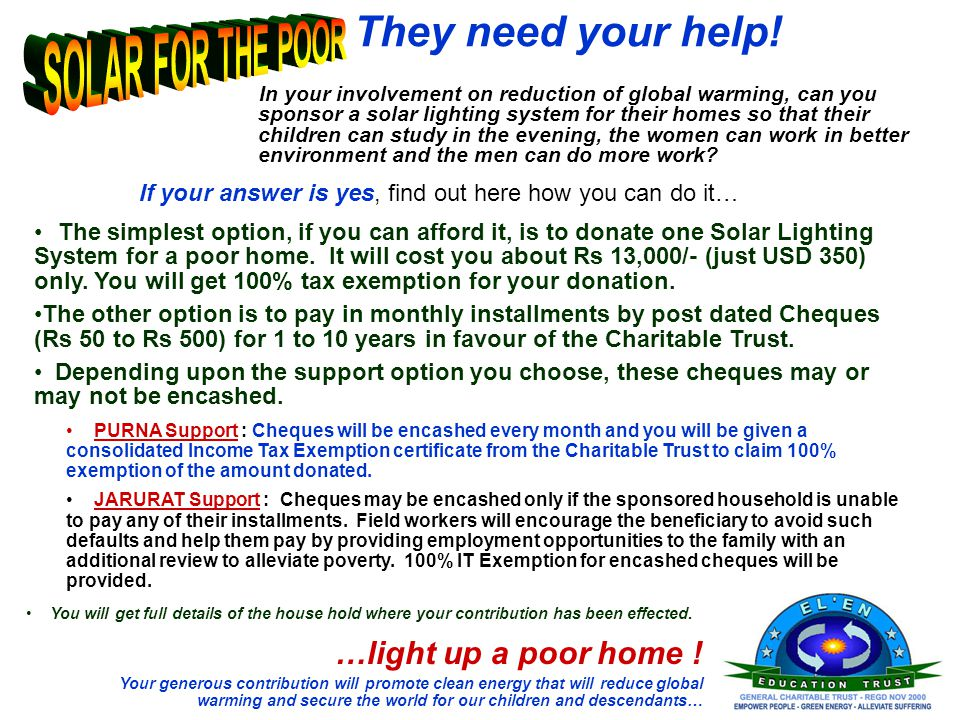 They need your help! In your involvement on reduction of global warming, can you sponsor a solar lighting system for their homes so that their childre