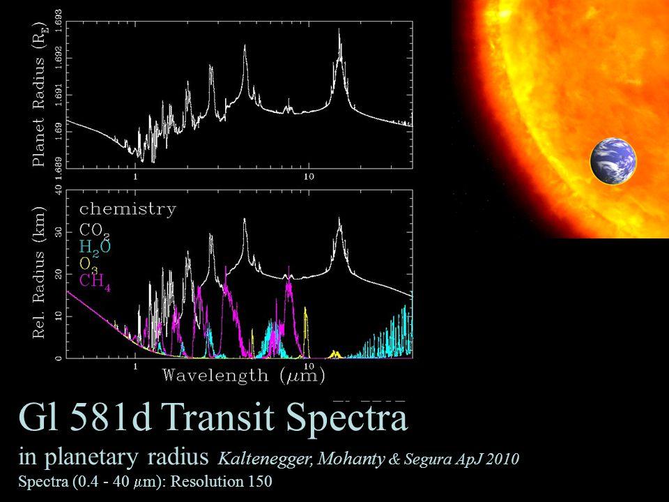 34 Gl 581d Transit Spectra in planetary radius Kaltenegger, Mohanty & Segura ApJ 2010 Spectra (0.4 - 40  m): Resolution 150
