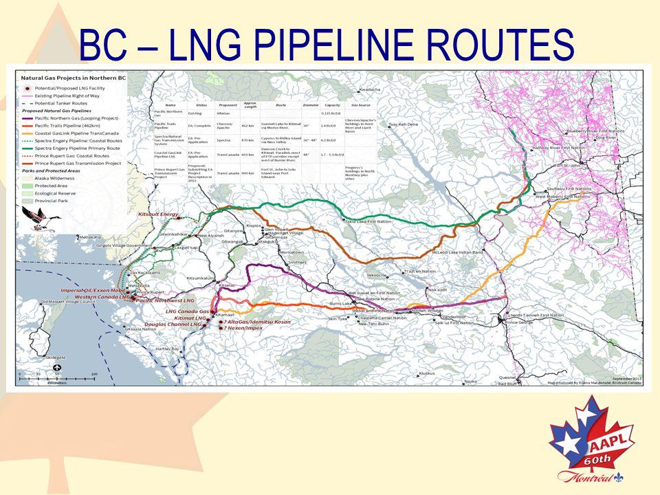 BC – LNG PIPELINE ROUTES