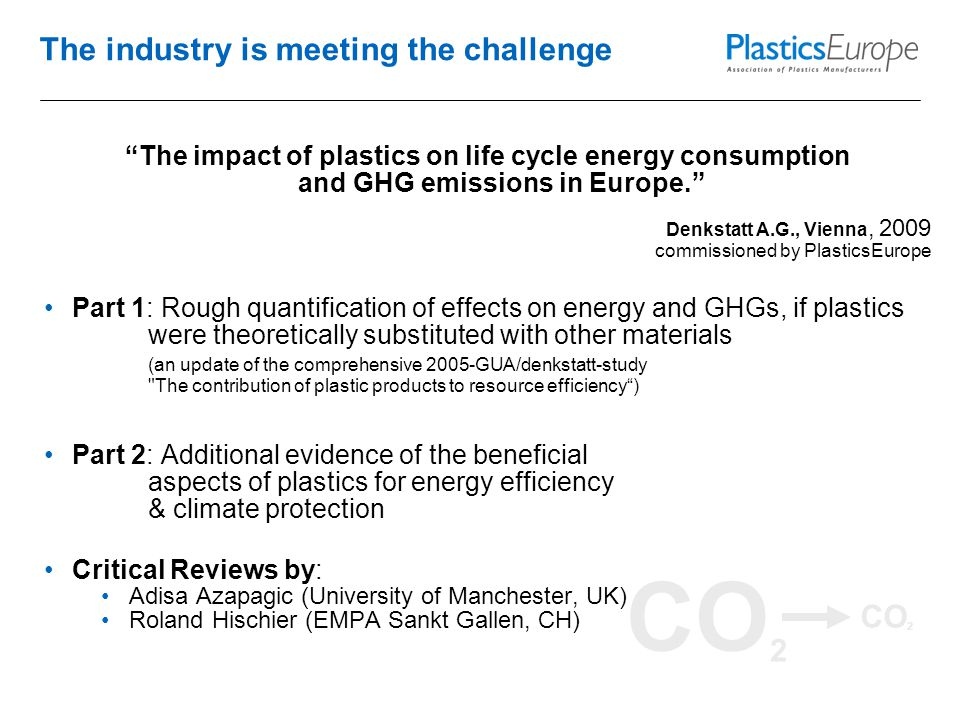 CO 2 The industry is meeting the challenge The impact of plastics on life cycle energy consumption and GHG emissions in Europe. Denkstatt A.G., Vienna, 2009 commissioned by PlasticsEurope Part 1: Rough quantification of effects on energy and GHGs, if plastics were theoretically substituted with other materials (an update of the comprehensive 2005-GUA/denkstatt-study The contribution of plastic products to resource efficiency ) Part 2: Additional evidence of the beneficial aspects of plastics for energy efficiency & climate protection Critical Reviews by: Adisa Azapagic (University of Manchester, UK) Roland Hischier (EMPA Sankt Gallen, CH)