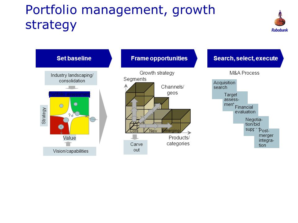 0806047 Portfolio management, growth strategy M&A Process Search, select, executeFrame opportunitiesSet baseline Acquisition search Target assess- men