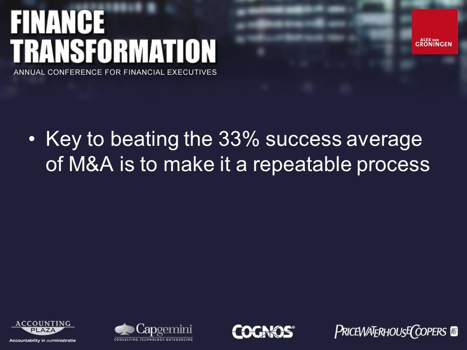 Key to beating the 33% success average of M&A is to make it a repeatable process