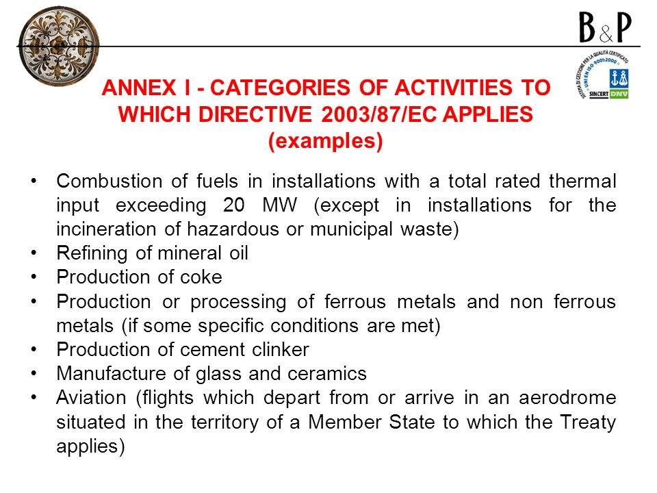 ANNEX I - CATEGORIES OF ACTIVITIES TO WHICH DIRECTIVE 2003/87/EC APPLIES (examples) Combustion of fuels in installations with a total rated thermal in