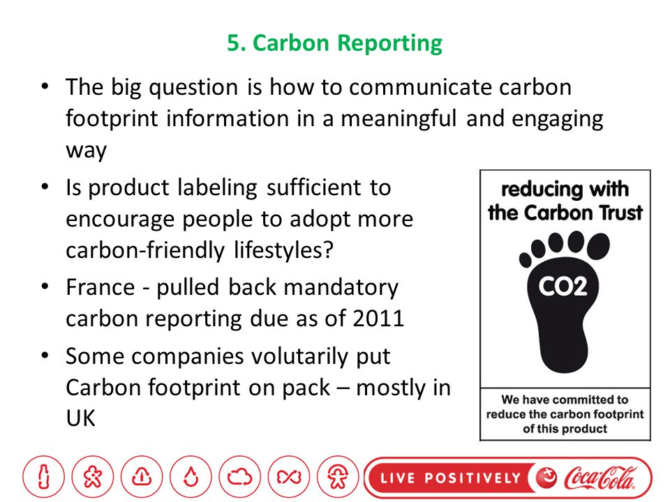 5. Carbon Reporting Is product labeling sufficient to encourage people to adopt more carbon-friendly lifestyles? France - pulled back mandatory carbon