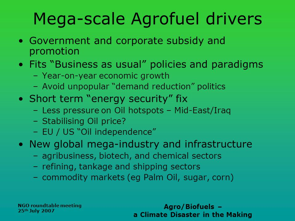 NGO roundtable meeting 25 th July 2007 Agro/Biofuels – a Climate Disaster in the Making Mega-scale Agrofuel drivers Government and corporate subsidy a