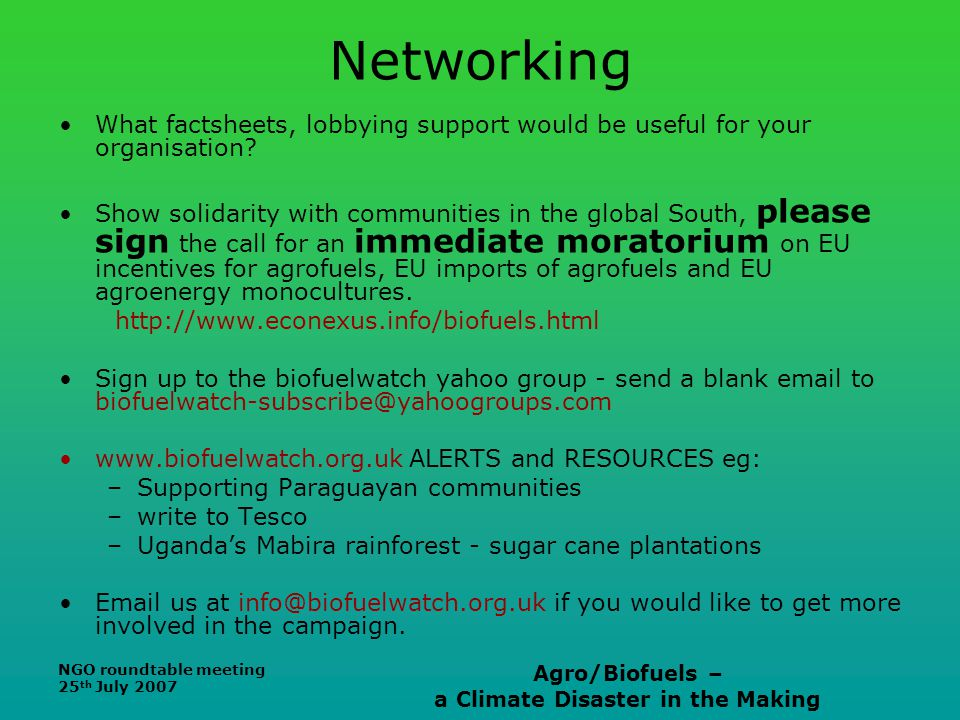NGO roundtable meeting 25 th July 2007 Agro/Biofuels – a Climate Disaster in the Making Networking What factsheets, lobbying support would be useful f