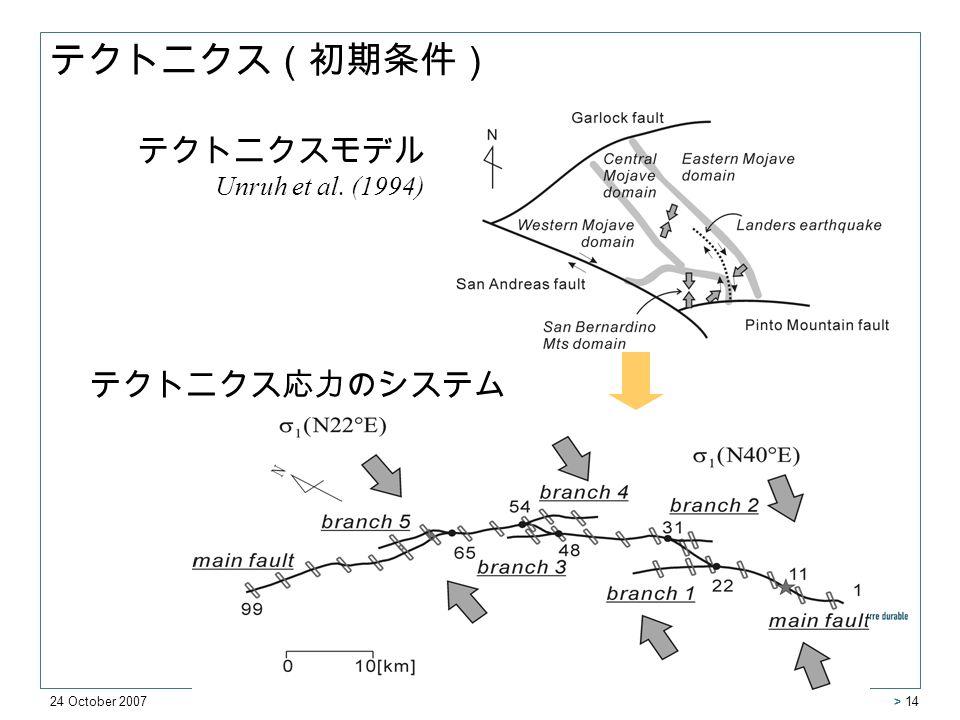 24 October 2007 > 14 テクトニクスモデル Unruh et al. (1994) テクトニクス応力のシステム テクトニクス(初期条件)
