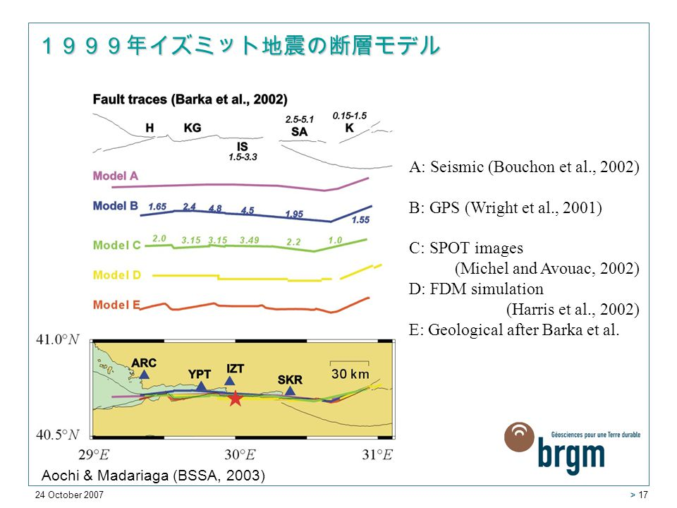 24 October 2007 > 17 1999年イズミット地震の断層モデル A: Seismic (Bouchon et al., 2002) B: GPS (Wright et al., 2001) C: SPOT images (Michel and Avouac, 2002) D: FDM simulation (Harris et al., 2002) E: Geological after Barka et al.