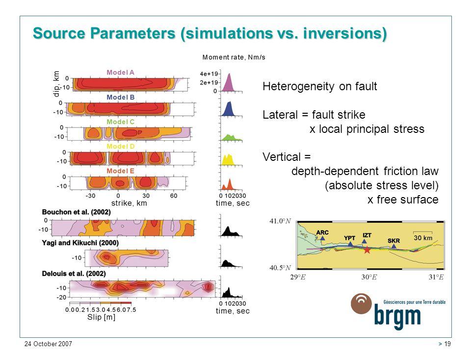 24 October 2007 > 19 Source Parameters (simulations vs.