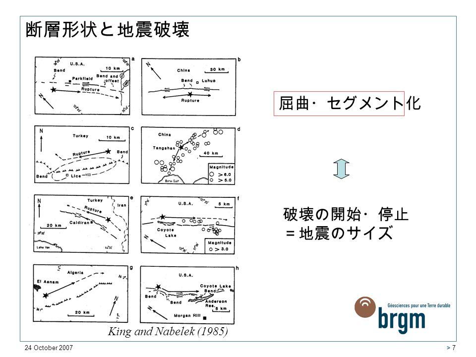 24 October 2007 > 7 King and Nabelek (1985) 破壊の開始・停止 =地震のサイズ 屈曲・セグメント化 断層形状と地震破壊