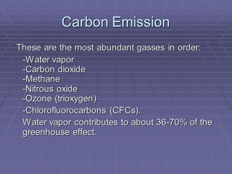 Carbon Emission These are the most abundant gasses in order: These are the most abundant gasses in order: -Water vapor -Carbon dioxide -Methane -Nitro