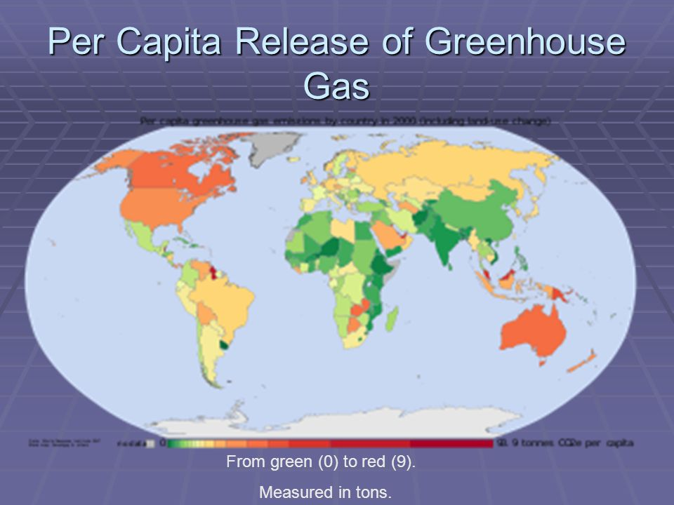 Per Capita Release of Greenhouse Gas From green (0) to red (9). Measured in tons.