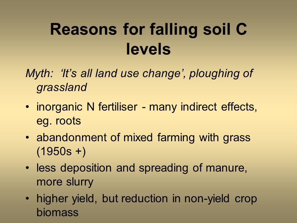 Reasons for falling soil C levels Myth: 'It's all land use change', ploughing of grassland inorganic N fertiliser - many indirect effects, eg. roots a