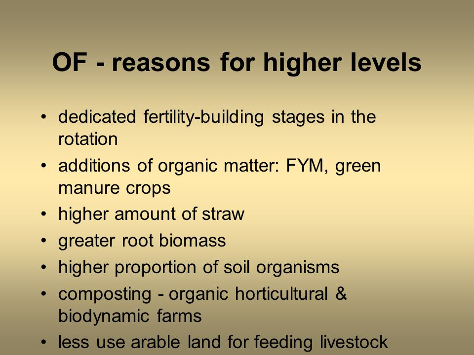 OF - reasons for higher levels dedicated fertility-building stages in the rotation additions of organic matter: FYM, green manure crops higher amount