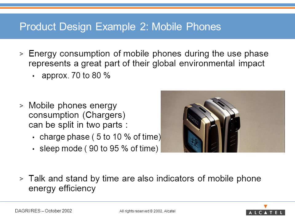 DAGRI/RES – October 2002 All rights reserved © 2002, Alcatel Product Design Example 2: Mobile Phones > Energy consumption of mobile phones during the use phase represents a great part of their global environmental impact approx.