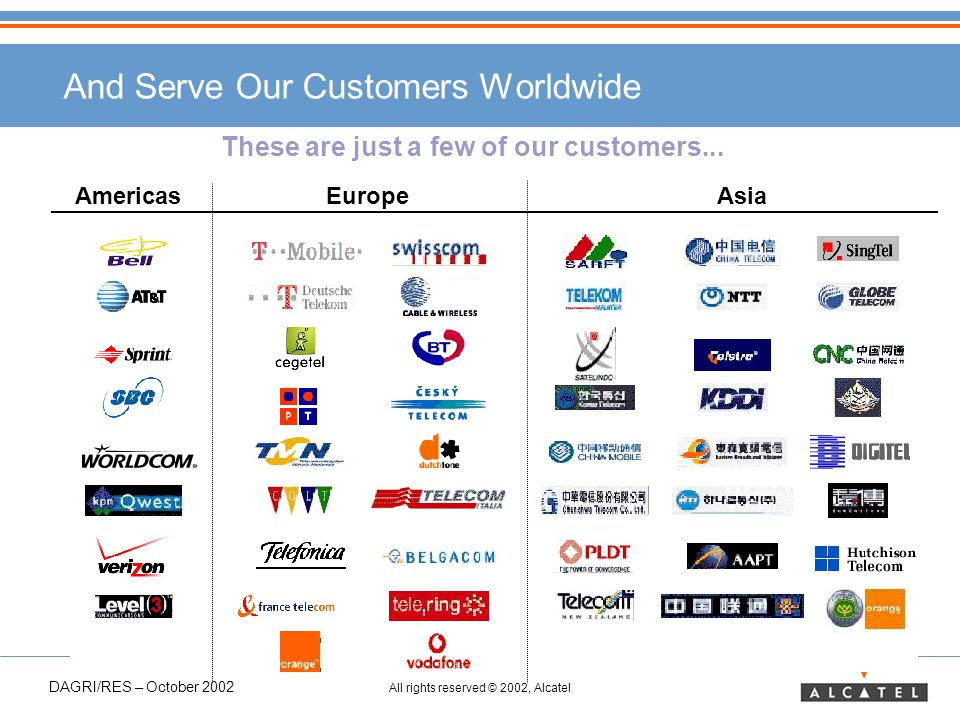 DAGRI/RES – October 2002 All rights reserved © 2002, Alcatel AmericasEuropeAsia And Serve Our Customers Worldwide These are just a few of our customers...