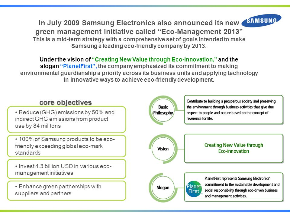 Eco Management commitment In order to realize the objectives of the Eco Management 2013 Samsung has established a framework of specific action plans under three categories
