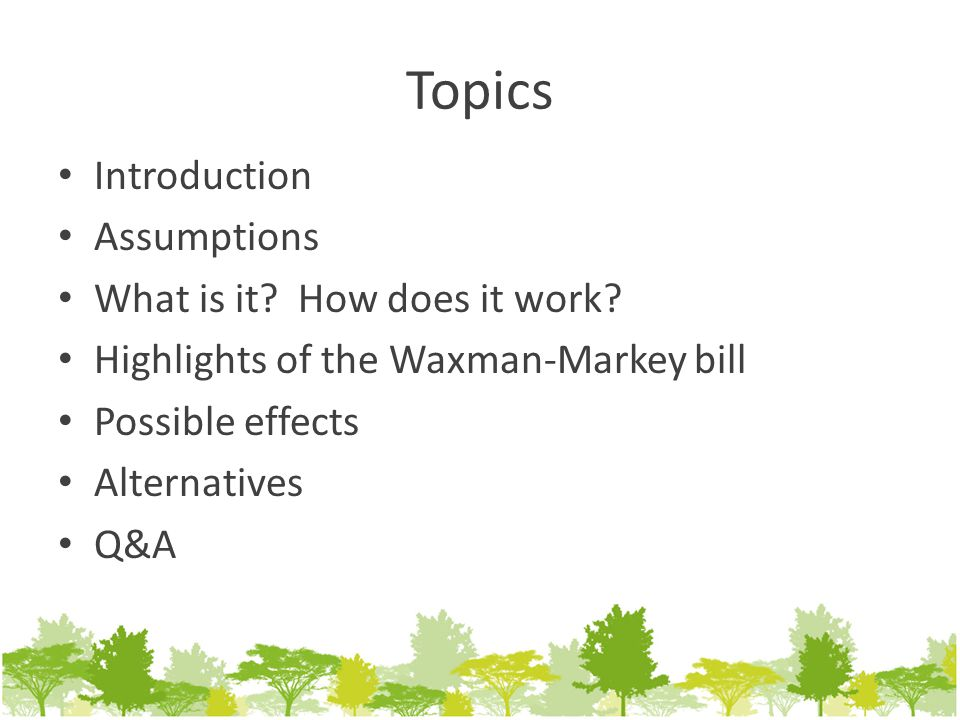 Topics Introduction Assumptions What is it. How does it work.
