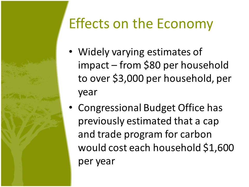 Effects on the Economy Widely varying estimates of impact – from $80 per household to over $3,000 per household, per year Congressional Budget Office has previously estimated that a cap and trade program for carbon would cost each household $1,600 per year