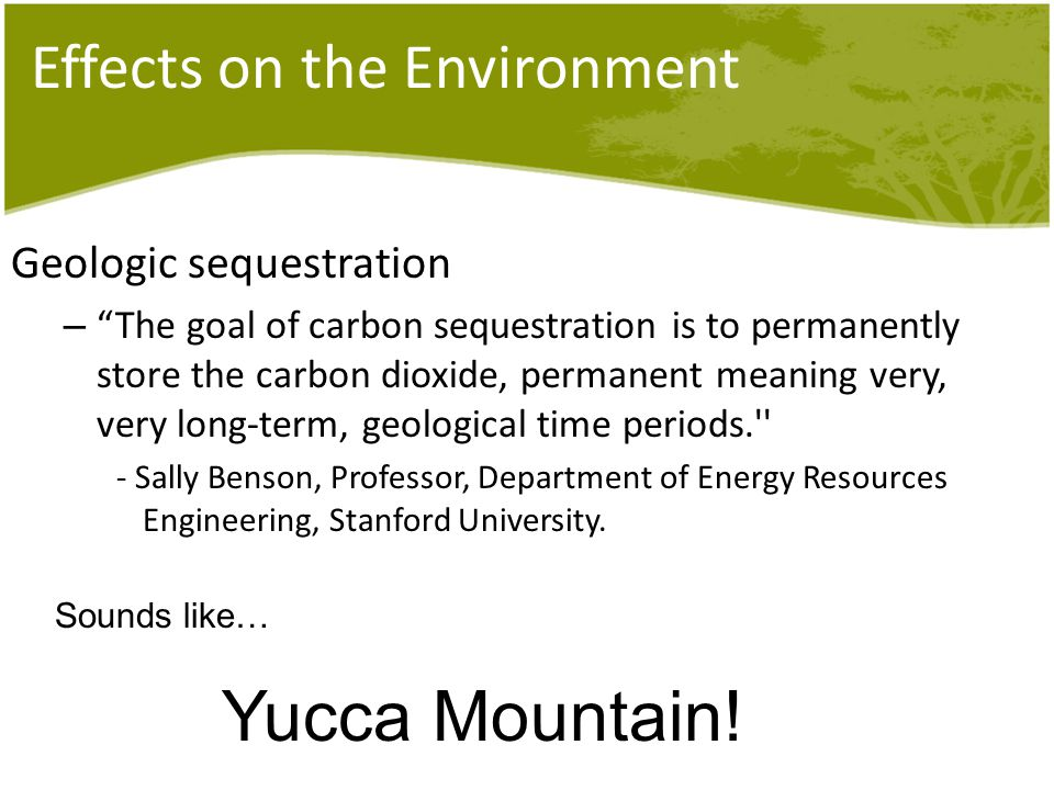 Effects on the Environment Geologic sequestration – The goal of carbon sequestration is to permanently store the carbon dioxide, permanent meaning very, very long-term, geological time periods. - Sally Benson, Professor, Department of Energy Resources Engineering, Stanford University.