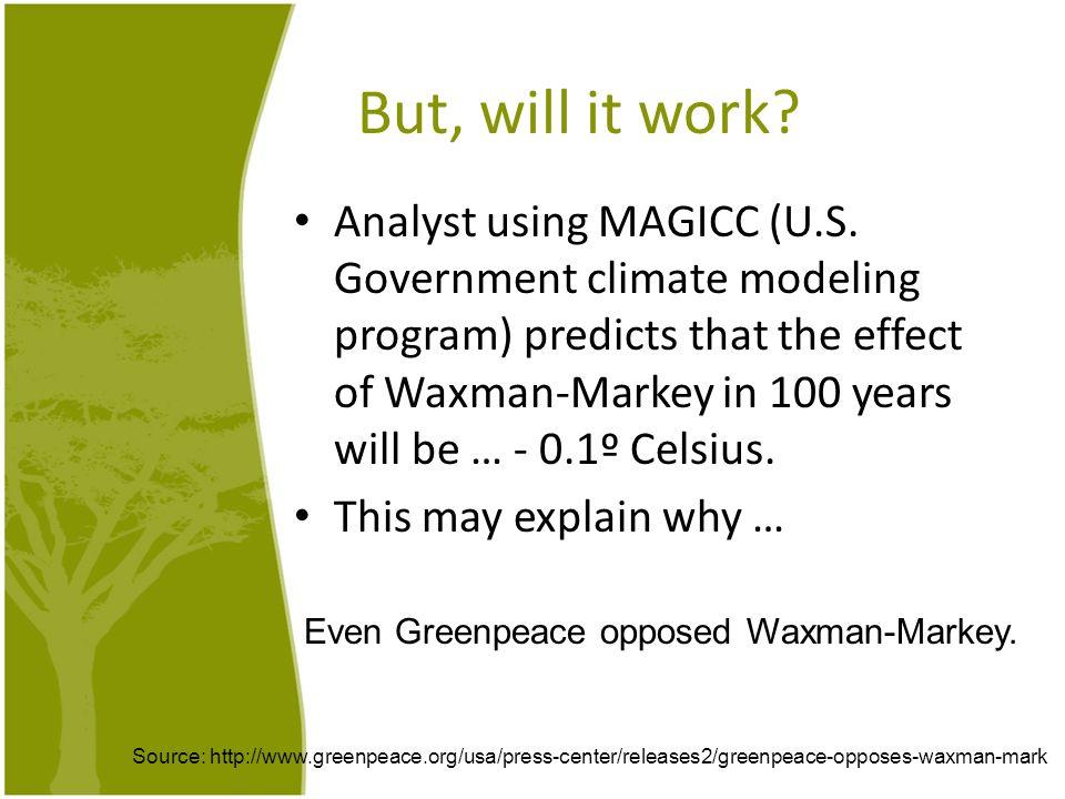 But, will it work. Analyst using MAGICC (U.S.