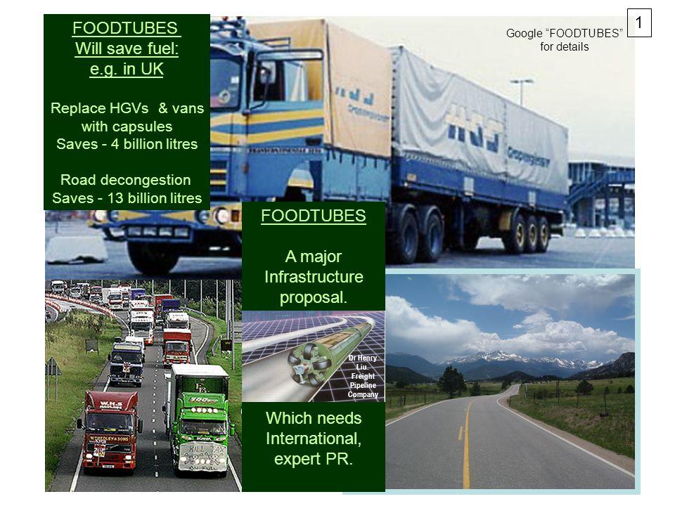 FOODTUBES A major Infrastructure proposal. Which needs International, expert PR.