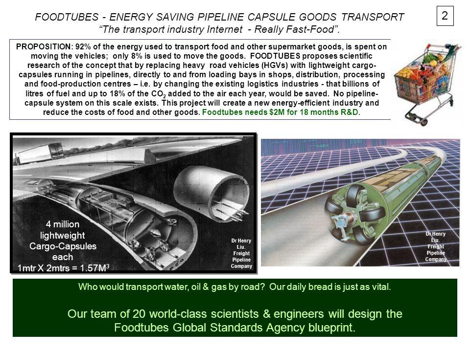 FOODTUBES - ENERGY SAVING PIPELINE CAPSULE GOODS TRANSPORT The transport industry Internet - Really Fast-Food .