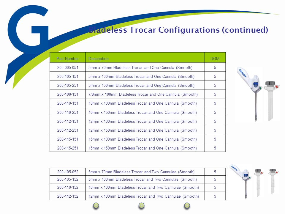 Bladeless Trocar Configurations (continued) Part NumberDescriptionUOM 200-005-0515mm x 70mm Bladeless Trocar and One Cannula (Smooth)5 200-105-1515mm
