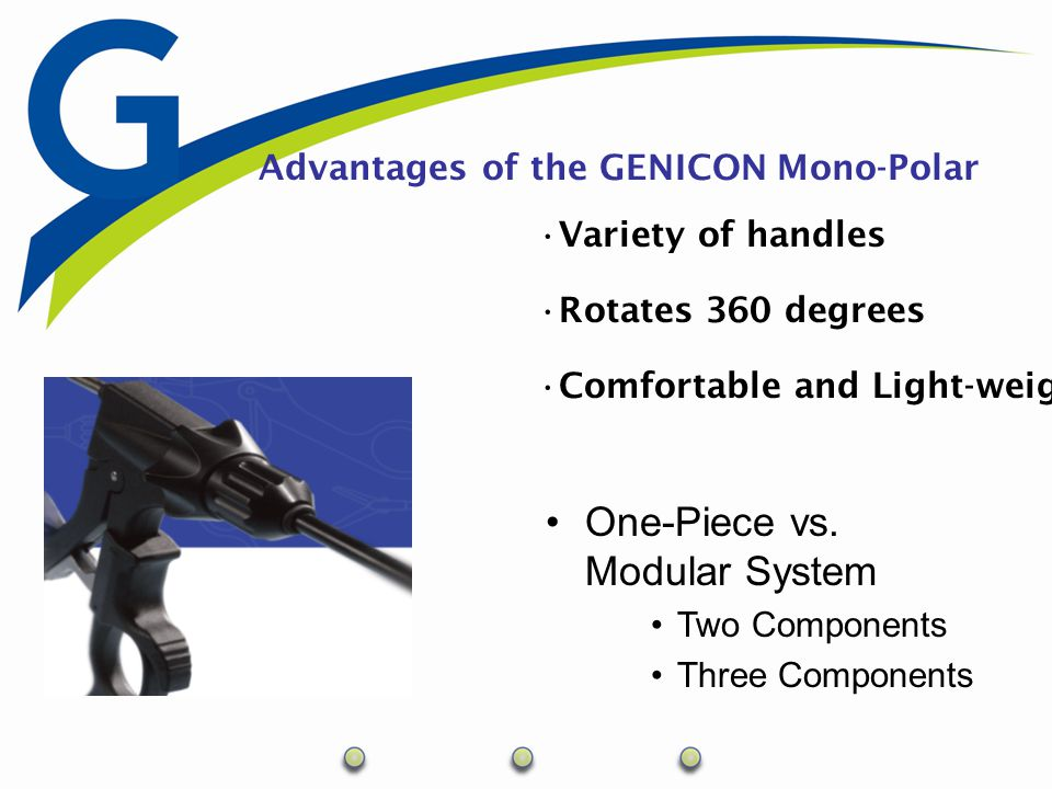 Advantages of the GENICON Mono-Polar Variety of handles Rotates 360 degrees Comfortable and Light-weight One-Piece vs. Modular System Two Components T