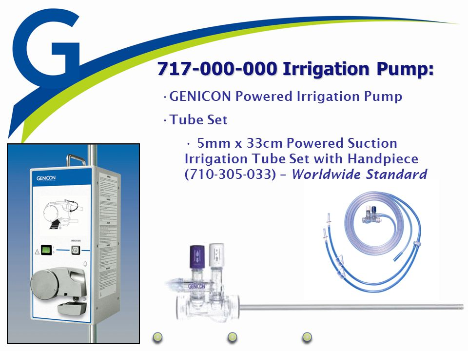 717-000-000 Irrigation Pump: GENICON Powered Irrigation Pump Tube Set 5mm x 33cm Powered Suction Irrigation Tube Set with Handpiece (710-305-033) – Wo