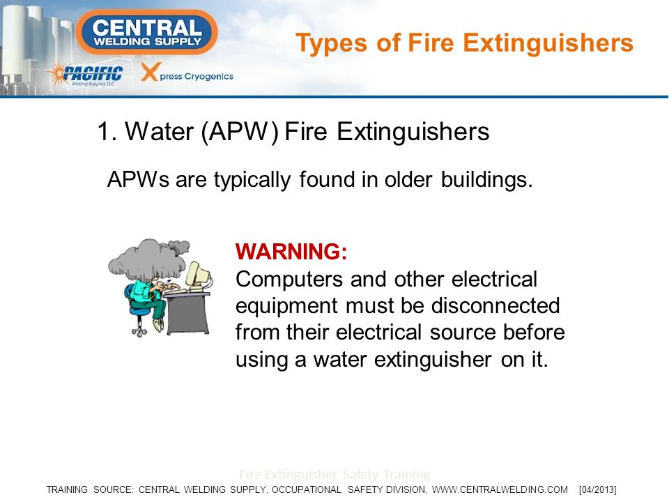 1. Water (APW) Fire Extinguishers APWs are typically found in older buildings. WARNING: Computers and other electrical equipment must be disconnected