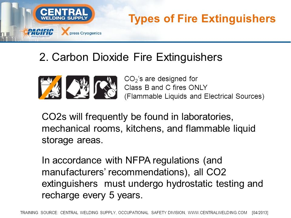 CO2s will frequently be found in laboratories, mechanical rooms, kitchens, and flammable liquid storage areas.