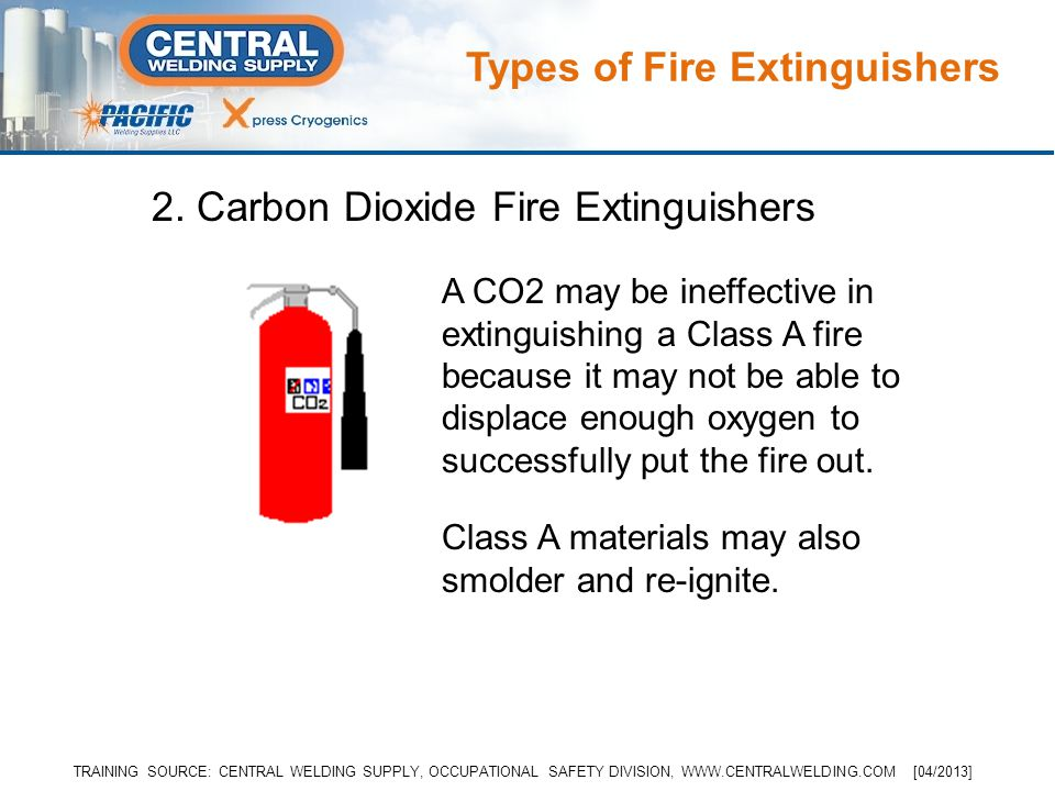 Class A materials may also smolder and re-ignite. A CO2 may be ineffective in extinguishing a Class A fire because it may not be able to displace enou