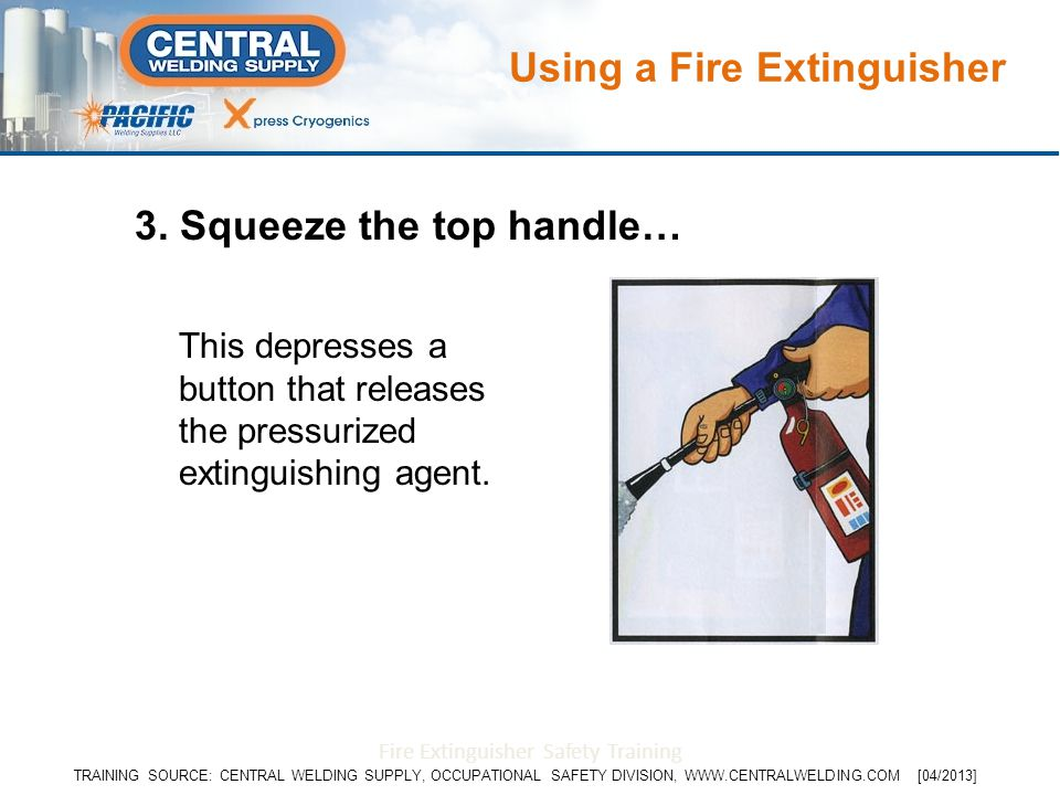 3. Squeeze the top handle… This depresses a button that releases the pressurized extinguishing agent. Fire Extinguisher Safety Training Using a Fire E