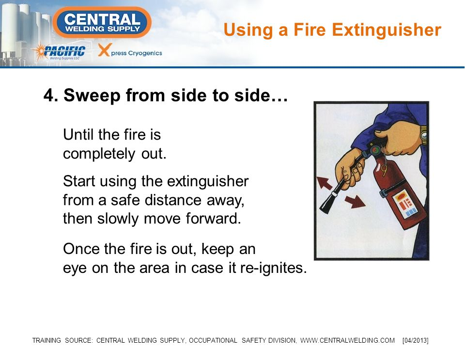 4. Sweep from side to side… Until the fire is completely out.