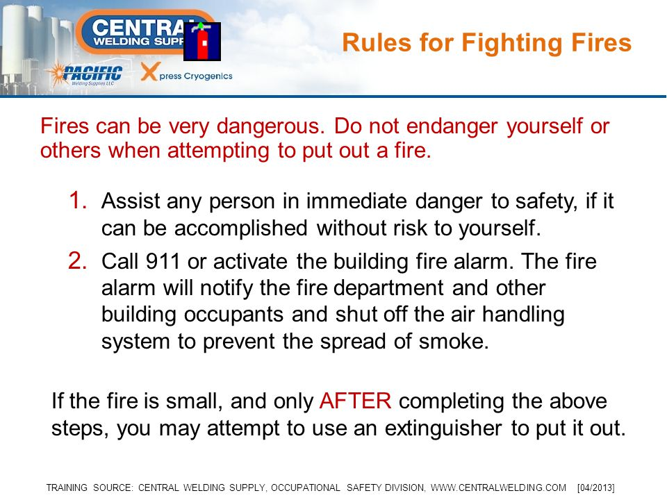 Fires can be very dangerous. Do not endanger yourself or others when attempting to put out a fire.