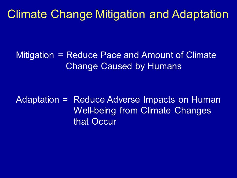 Climate Change Mitigation and Adaptation Mitigation = Reduce Pace and Amount of Climate Change Caused by Humans Adaptation = Reduce Adverse Impacts on