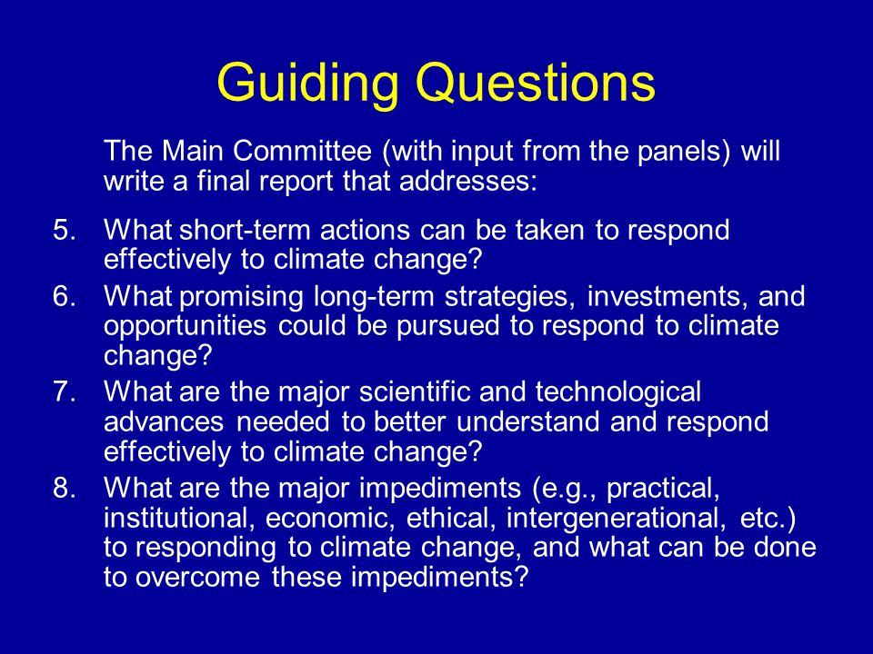 Guiding Questions The Main Committee (with input from the panels) will write a final report that addresses: 5.What short-term actions can be taken to respond effectively to climate change.
