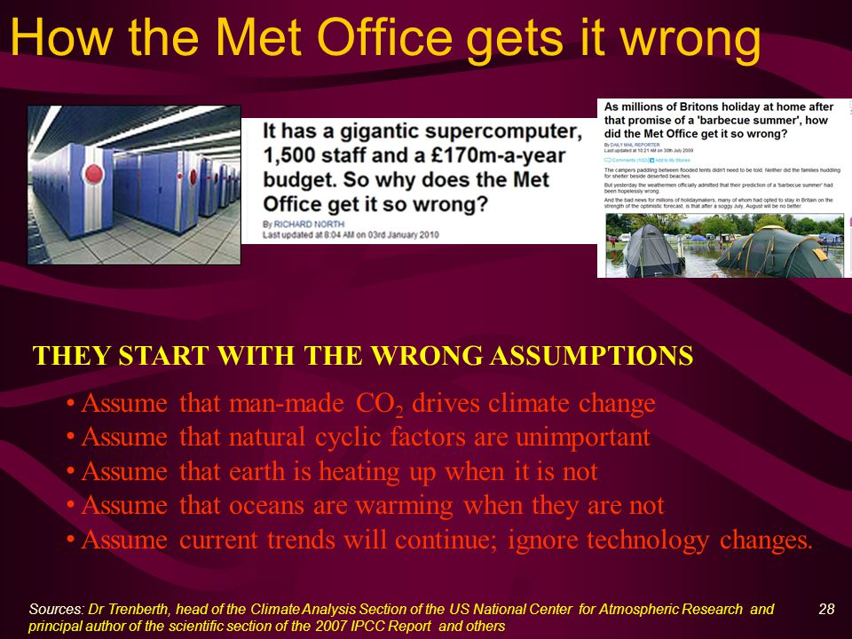 28 How the Met Office gets it wrong Assume that man-made CO 2 drives climate change Assume that natural cyclic factors are unimportant Assume that earth is heating up when it is not Assume that oceans are warming when they are not Assume current trends will continue; ignore technology changes.