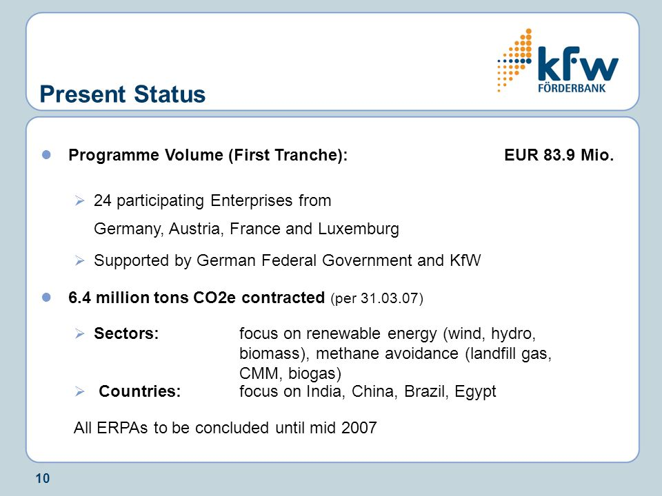 10 Present Status Programme Volume (First Tranche):EUR 83.9 Mio.  24 participating Enterprises from Germany, Austria, France and Luxemburg  Supporte