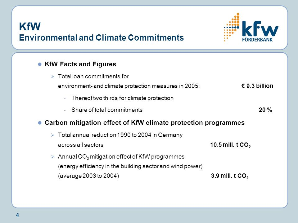 4 KfW Environmental and Climate Commitments KfW Facts and Figures  Total loan commitments for environment- and climate protection measures in 2005: € 9.3 billion - Thereof two thirds for climate protection - Share of total commitments20 % Carbon mitigation effect of KfW climate protection programmes  Total annual reduction 1990 to 2004 in Germany across all sectors 10.5 mill.