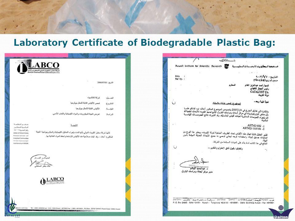 Laboratory Certificate of Biodegradable Plastic Bag: