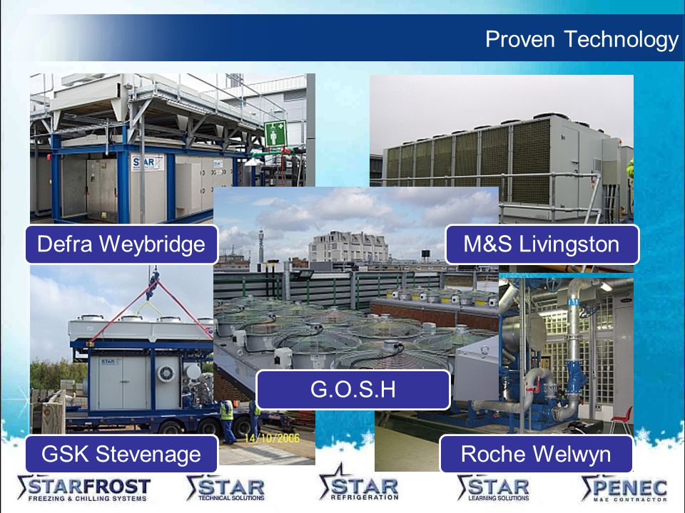 Proven Technology Defra WeybridgeM&S Livingston GSK StevenageRoche Welwyn G.O.S.H