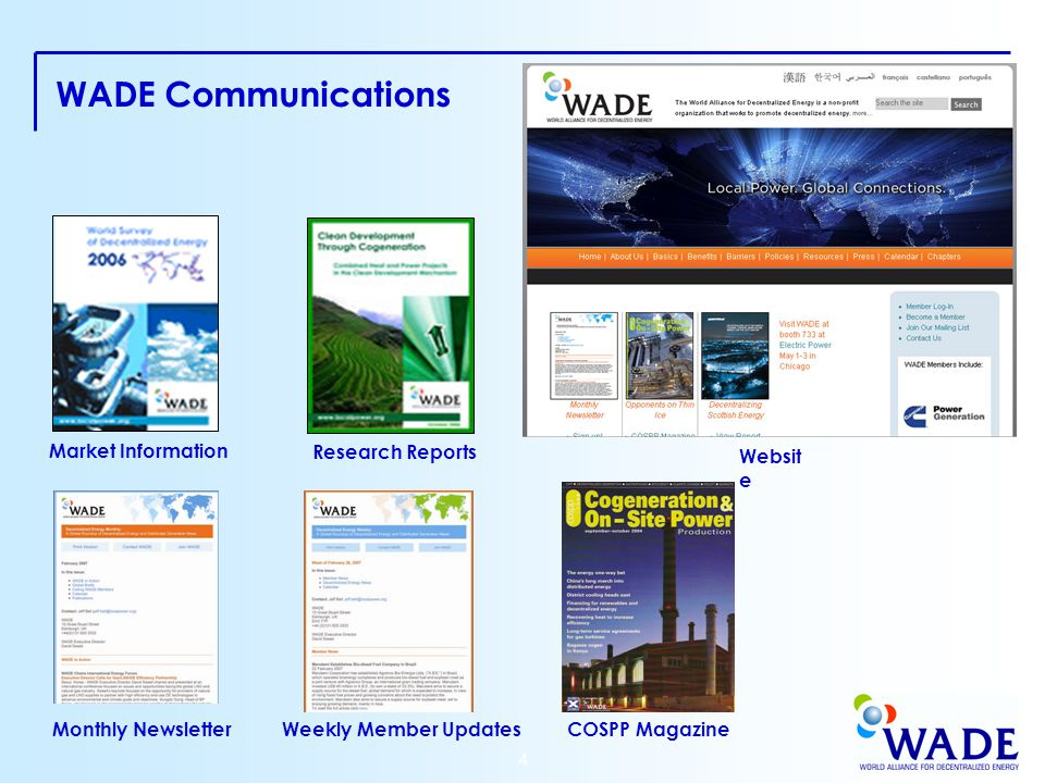 4 WADE Communications Research Reports COSPP Magazine Weekly Member Updates Market Information Websit e Monthly Newsletter