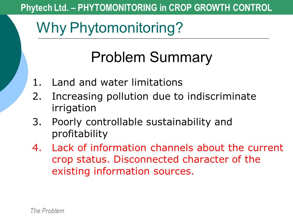 Problem Summary 1.Land and water limitations 2.Increasing pollution due to indiscriminate irrigation 3.Poorly controllable sustainability and profitab